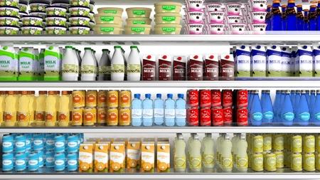 dairy: Супермаркет холодильник с различными продуктами