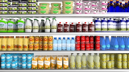 refrigerator with food: Supermarket refrigerator with various products Stock Photo