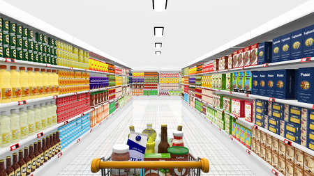 supermarkets: Supermarket interior and shopping cart with various products