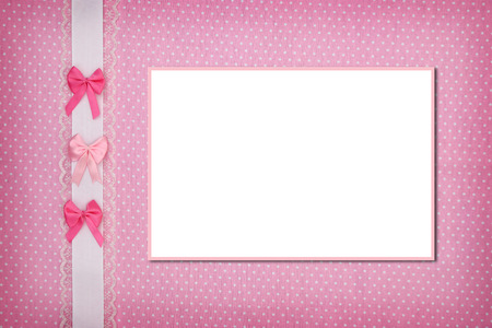 name day: Photo frame on pink polka dot background Stock Photo