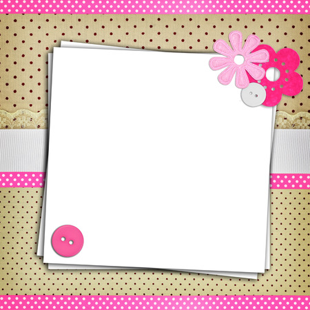 scrapbook frame: Stack of blank papers on polka dots background