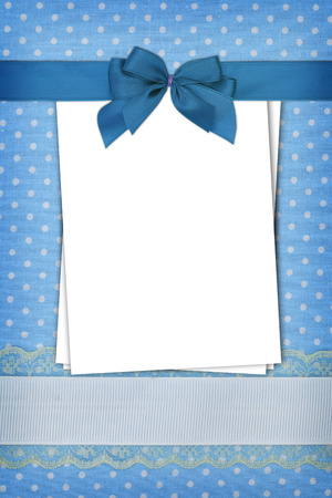 Stack of blank papers on blue polka dots background