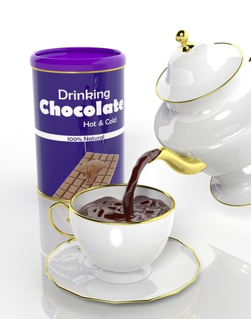 choco: Package of chocolate and teapot pouring fresh choco to the cup Stock Photo