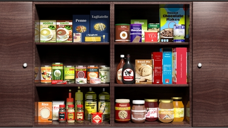 product packaging: Wooden kitchen cabinet full of food products