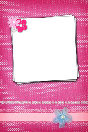 polka dots background: Stack of blank papers on polka dots background