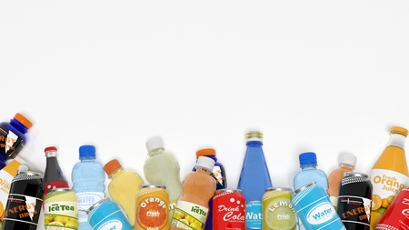 sodas: Group of various refreshments isolated on white
