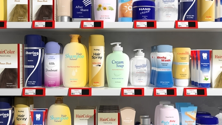 product packaging: Supermarket shelves with personal care products