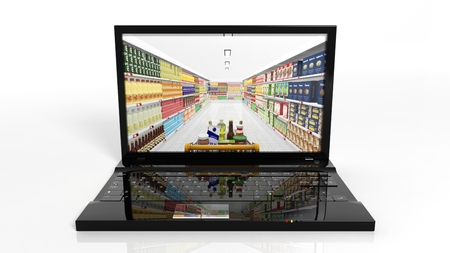 supermarket shelf: Online shopping concept with laptop and shelves with products Stock Photo