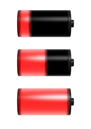 Collection of battery charge level indicators isolated on white photo
