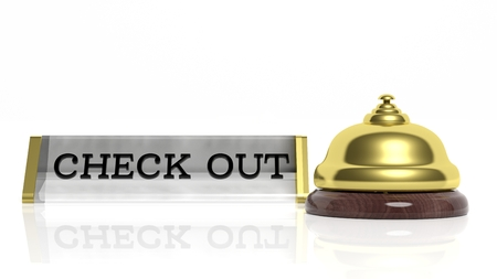 check out: Hotel reception bell and Check out card isolated on white
