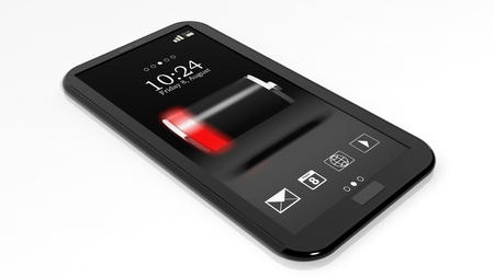 Smartphone with low battery indicator on screen isolated on white photo