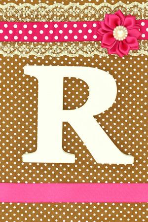 battesimo: Lettera in legno Ron pois sfondo