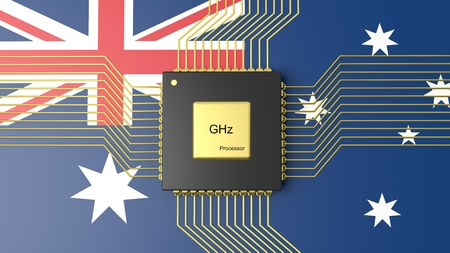 computer cpu: Computer CPU with flag of Australia background Stock Photo