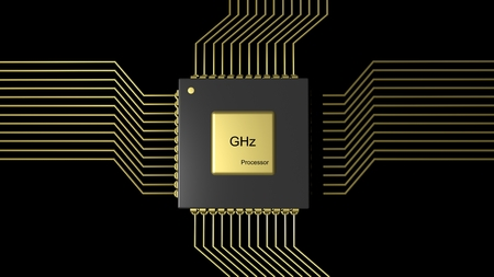chipset: Computer microchip CPU isolated on black background Stock Photo