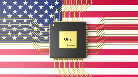 computer cpu: Computer CPU with flag of USA background Stock Photo