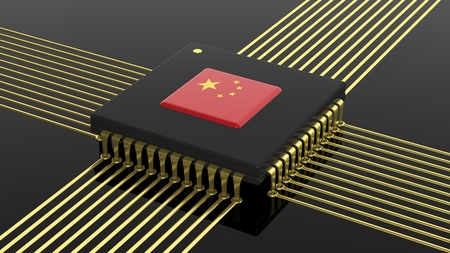 made in china: Computer CPU with Chinese flag isolated on black background