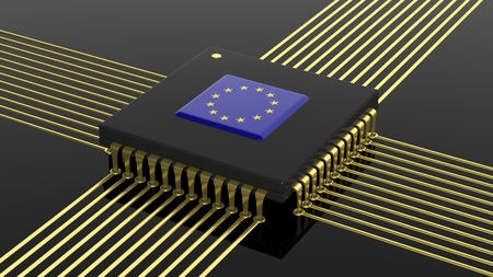 computer cpu: Computer CPU with EU flag isolated on black background