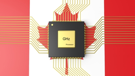 computer cpu: Computer CPU with flag of Canada background