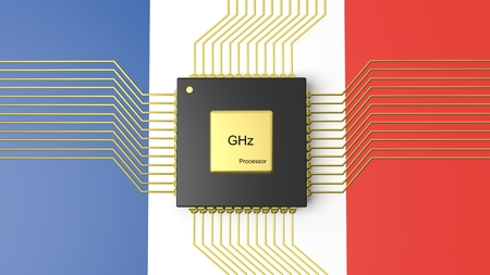 computer cpu: Computer CPU with flag of France background