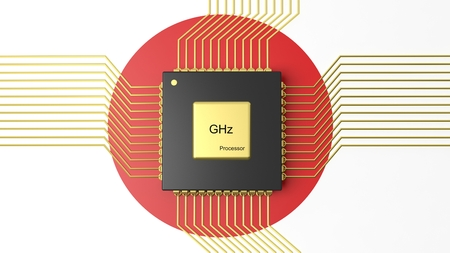 computer cpu: Computer CPU with flag of Japan background