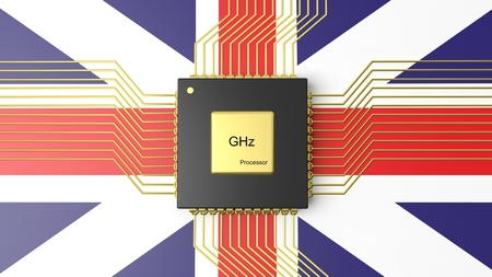 computer cpu: Computer CPU with flag of United Kingdom background Stock Photo