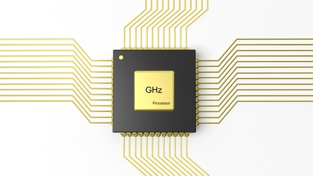 chipset: Computer microchip CPU isolated on white background