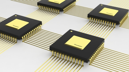 data processor: Computer multi-core microchip CPU isolated on white background