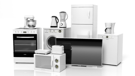 refrigerator with food: Group of home appliances isolated on white background