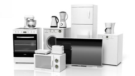 domestic: Grupo de electrodomésticos aislado en fondo blanco Foto de archivo