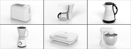 licuadora: Colección de electrodomésticos aislado en fondo blanco