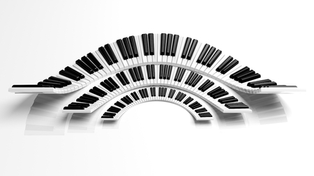 semicircle: Three abstract semicircle piano keyboards on white background