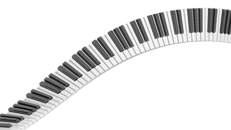 Abstract piano keyboard wave on white background