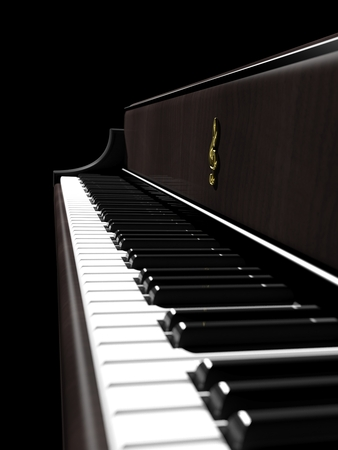 side keys: Dark brown piano, keys closeup side view Stock Photo