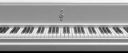 Front view of white piano keys, closeup background photo