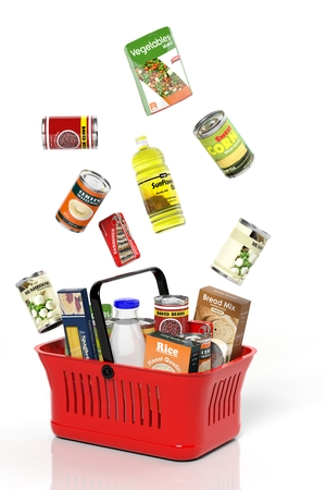 Full shopping basket with products isolated on white