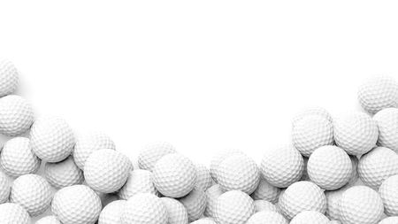 to play ball: Golf balls pile with copy-space isolated on white background