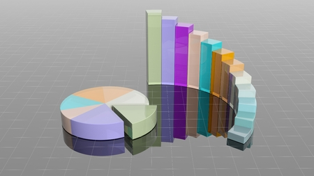 histogram: Colorful 3D business round bar and pie charts infographic