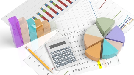 demographics: Colorful business pie and bar chart on documents, isolated on white Stock Photo