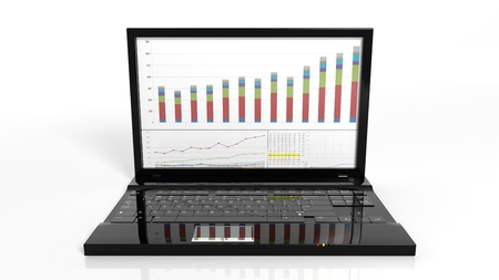 laptop screen: Laptop with bar chart on screen, isolated on white