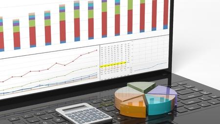 graficos de barras: Pastel de negocio y de barras de colores en la computadora port�til