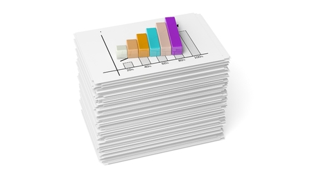 Business paper documents stack with info bar chart, isolated on white photo