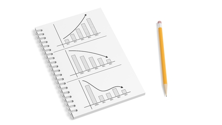 histogram: Business paper notepad with info charts and pencil isolated Stock Photo