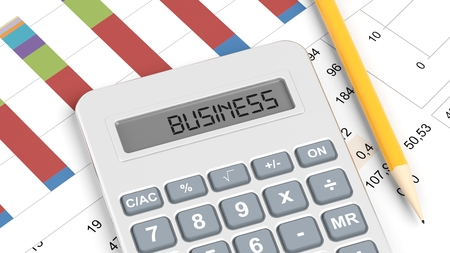 Calculator and documents with info charts and word Business photo