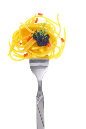 pasta fork: Fresh colorful composition seafood with pasta on fork, isolated on white