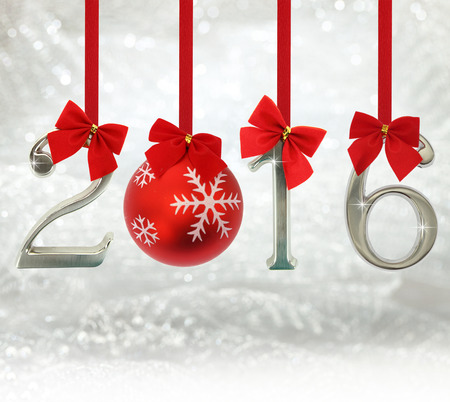 red glittery: 2016 number ornaments hanging on red ribbons in a glittery background