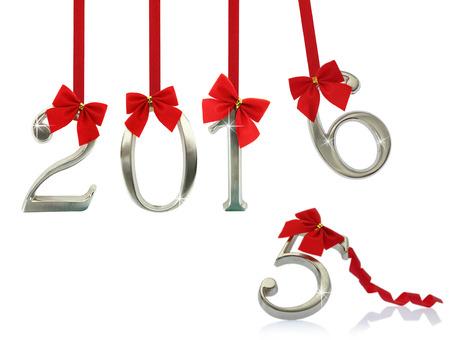 New Jahr 2016 hängen rote Bänder