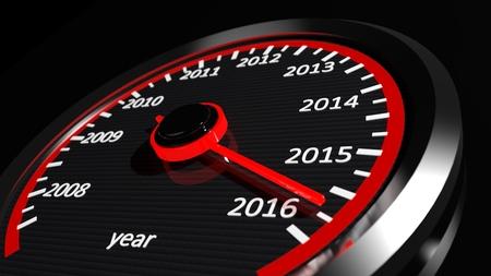 Conceptual 2016 year speedometer photo