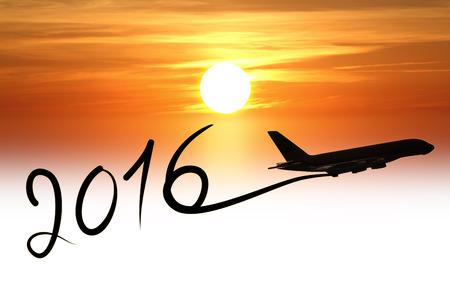 New Jahr 2016 Zeichnung mit dem Flugzeug in der Luft bei Sonnenuntergang