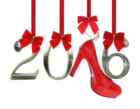 Navidad: High heel shoe and 2016 number hanging