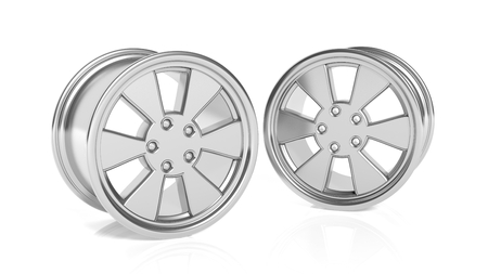rims: Car aluminum alloy rims, isolated on white background Stock Photo